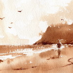 Quick Sketch Simple Beach Scene Watercolor Painting Using Instant