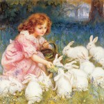 Rabbits Painting Frederick Morgan Feeding The Fine Art