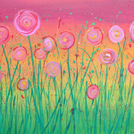 Rainbow Abstract Flowers Painting Whimsical Painted
