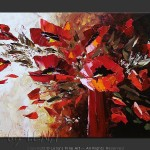 Red Black And White Flower Paintings Bouquets Impressionism