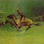 Remington Paintings Frederic The Stampede Painting