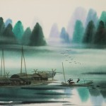 Resting The River Watercolor Painting Asian Art Chinese Wall
