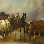 River Landscape Three Horses Watering One Them Ridden