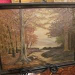Robert Wood Painting Canvas Board Fall Landsca Lot