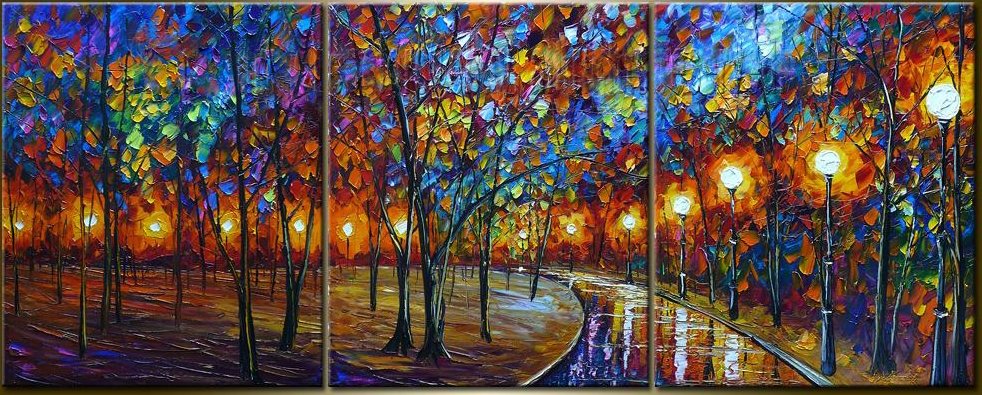 Saenz Original Abstract Oil Painting Park Night Paintings