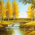 Scenery Oil Painting Handmade Birch Forest