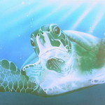 Sea Turtle Painting Endangered Art Green Fine