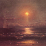 Seascape Oil Painting Paintings Sailing Moonlight