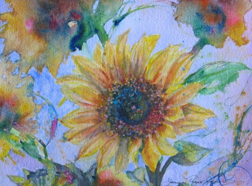 Seduction This Abstract Sunflower Original Watercolor Painting
