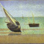 Seurat Georges Boats Bateux Maree Basse Grandcamp Painting