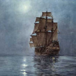 Ship Art Boat Crescent Dawson Montague Moonlight Ocean Painting