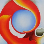 Shopping Georgia Keeffe Goat Horn Red Painting