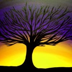 Silhouette Painting Deep Purple Sunset Behind Tree Fine