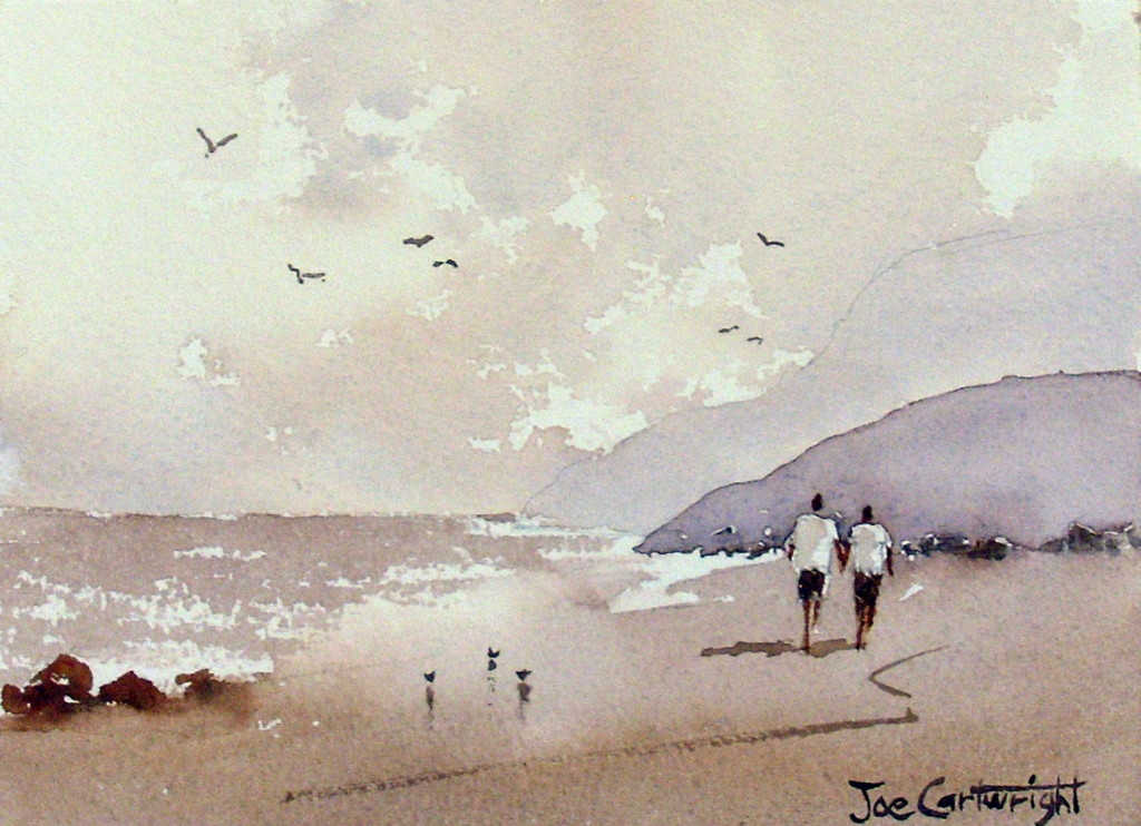 Simple Watercolor Painting Beach Scene