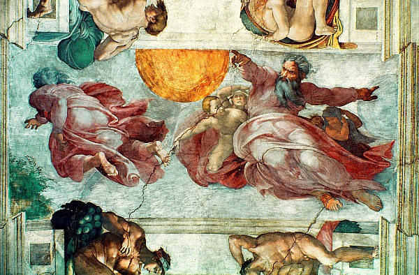 Sistine Chapel Ceiling Creation The Sun And Moon Greeting Card