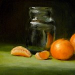 Small Still Life Oil Painting Glass Jar And Some Tangerines