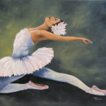 Smiley Original Works Art New Ballerina Painting The Swan