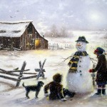 Snowman And Ren Paintings Vickie Wade Fine Art
