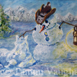 Snowman And Snow Foal Oil Painting Tammi Vaughan Tammivaughan