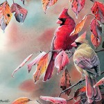 Songbirds Garden Watercolor Paintings Cute Little Birds