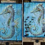 Steampunk Seahorse Painting
