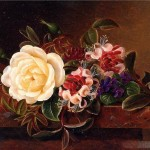 Still Life Rose And Violets Marble Ledge Oil Painting