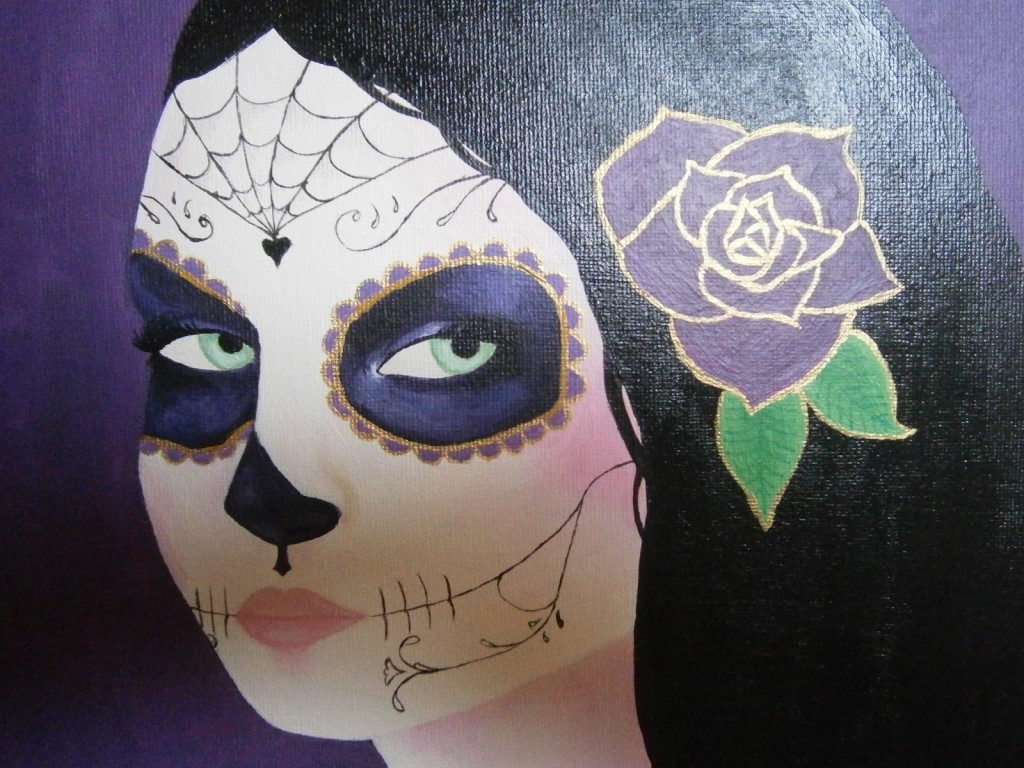 Strawberry Skulls Illustration Sugar Skull Girl Painting