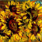 Sunny Flowers Expressionism Original Oil Paintings Wolga