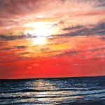 Sunset Over Conil Ocean Oil Canvass Painting