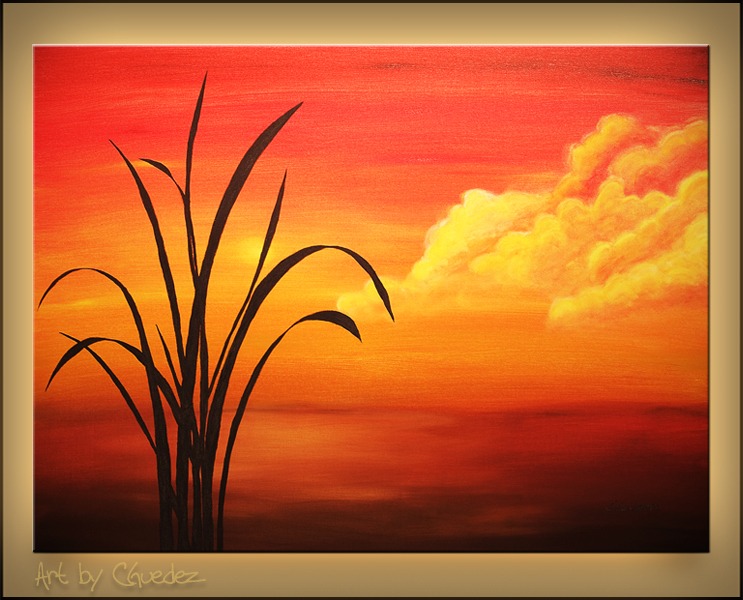 Sunset Palm Landscape Seascape Abstract Art Paintings Gallery