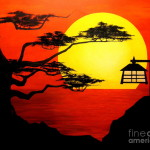Sunset Silhouette Painting Gerring Fine Art