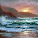 Sunset The Pacific Oil Canvas Seascape Paintings