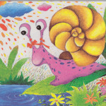 Teach You How Oil Pastel Painting Snail Draw Drawing