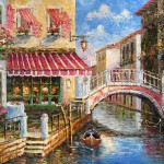 Terrace Cafe Venice Oil Paintings Canvas