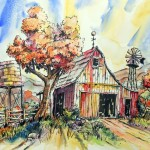 Terry Ink And Watercolor Deserted Barnyard