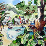 Terry Ink And Watercolor Secluded Village