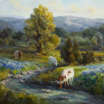 Texas Bluebonnets And Longhorns Painting
