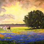 Texas Horses And Bluebonnets Painting Connie Tom