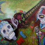 The Dead Sugar Skulls Skeletons Virgin Original Painting Folk Art