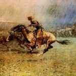 The Stampede Frederic Remington Oil Canvas