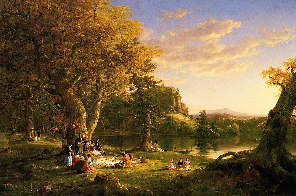 Thomas Cole The Picnic Art Painting Off
