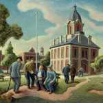 Thomas Hart Benton County Politics Oil Panel