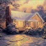 Thomas Kinkade Christmas Cottage Painting Framed Paintings For Sale