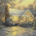 Thomas Kinkade Christmas Cottage Painting Limited Edition Canvas
