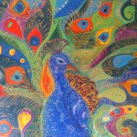 Title Artwork Magic Peacock Abstract Original Acrylic Painting