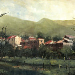 Town Original Oil Tuscany Italy Painting Artist Christopher Clark
