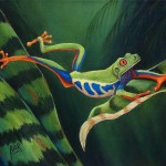 Tree Frog Leaping Painting Red Eyed Fine Art Print