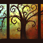 Tree Triptych Painting Elaine Hodges Curly Fine Art