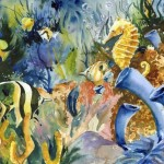 Tropical Fish And Seahorse Watercolor Painting Print Signed
