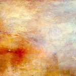 Turner Unfinished Painting Sun Setting Over Lake
